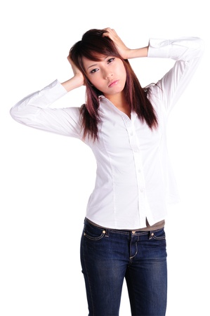 Young business woman with headache Stock Photo - 13799437