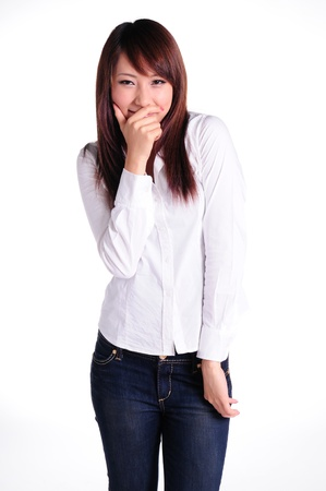 A portrait of asian business woman isolated on white background  Stock Photo - 13799354