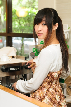 Coffee in the kitchen, the young beauty  Stock Photo