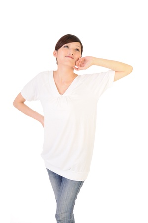 Young woman stretch oneself on white background