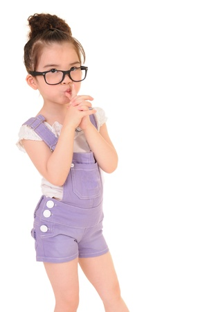 Beautiful girl wearing glasses isolated on white  Stock Photo