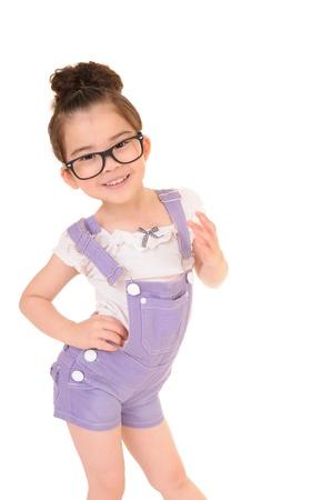 Beautiful girl wearing glasses isolated on white  Stock Photo