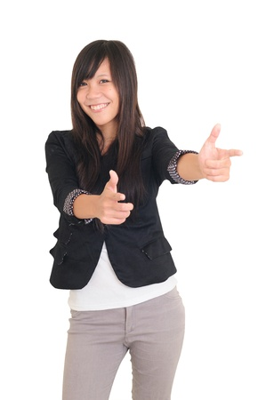Picture of attractive businesswoman pointing her finger  Stock Photo - 13821377