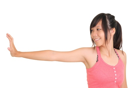 Young attractive woman showing stop gesture, isolated on white background