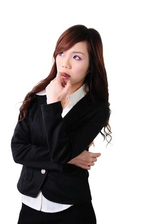 Asian women bow to think carefully businessman, isolated on white background