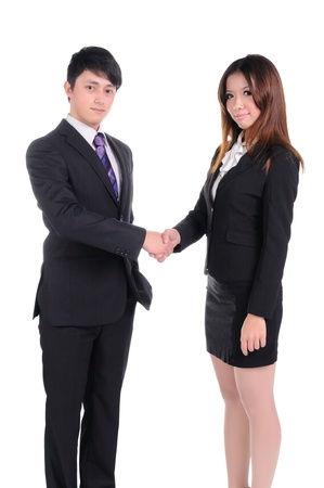 Business man and woman team at office handshake