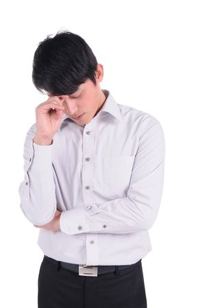 Portrait of a worried and stressed businessman  Isolated on white   Stock Photo