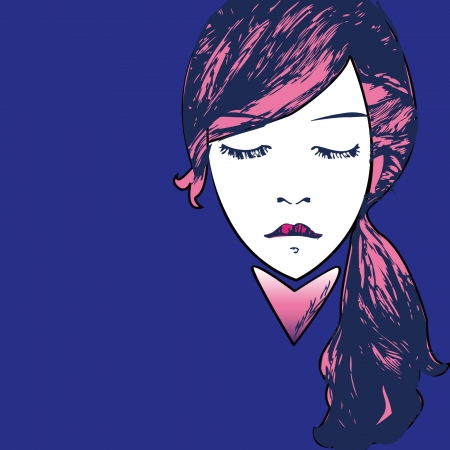 womanish: closeup grunge portrait of woman with long hair Illustration