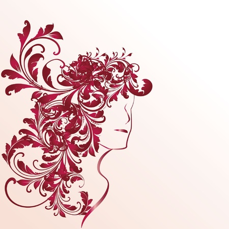 Profile of woman with long curly hair