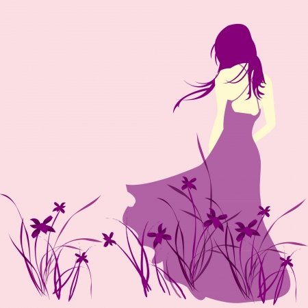 Lonely girl standing in the wind Stock Vector - 14257727
