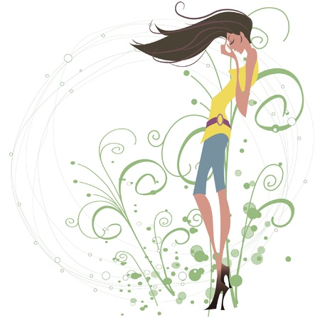 Background with beautiful girl  Illustration