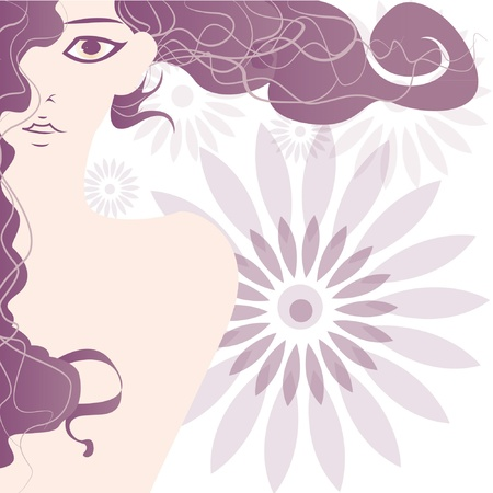 Background with beautiful girl Stock Vector - 14257721