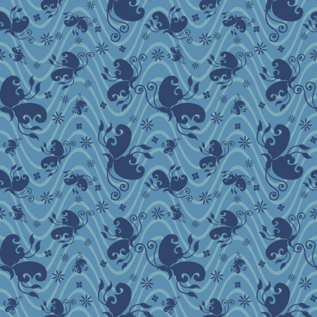 traditional Japanese seamless patterns with geometric and nature themes   Illustration