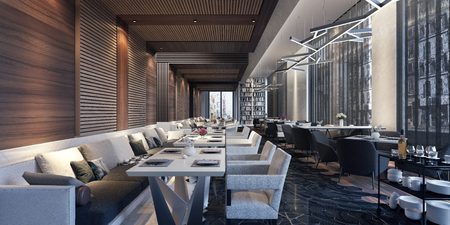 Modern concept design of restaurant lounge 3D Render
