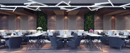 Modern concept ontwerp van restaurant lounge 3D Render