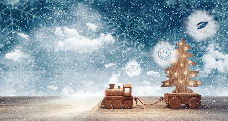 クリスマス ツリーと雪に覆われた冬の夜到着グッズ鉄道 3 D レンダリング
