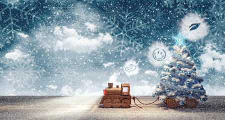 Toy train arriving with Christmas tree at snowy winter night 3D Rendering