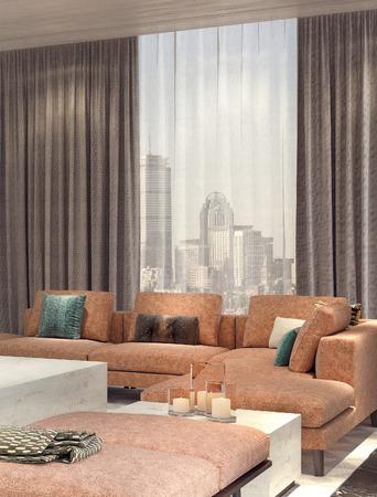 cyan leather sofa living room interior design 3d rendering - Cyan Living Room Decor