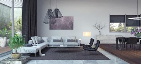 Living room, interior design 3D Rendering