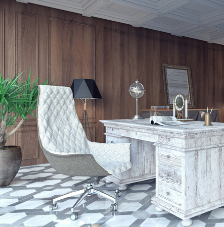 Classic And Modern Home Office Design 3D Rendering Stock Photo   87259449