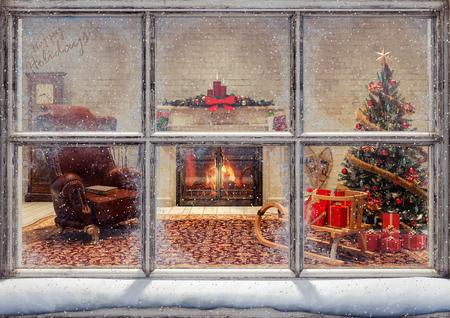 Christmas scene through window 3D Rendering