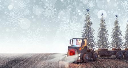 ホワイト クリスマスと到着トラック木 3 D レンダリング 写真素材 - 87259481