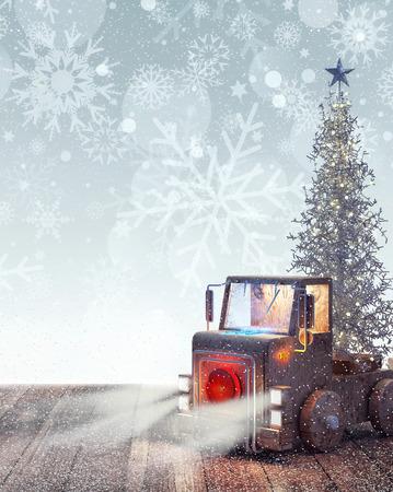ホワイト クリスマスと到着トラック木 3 D レンダリング