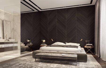 Modern design of bedroom with bathroom 3D Rendering Foto de archivo