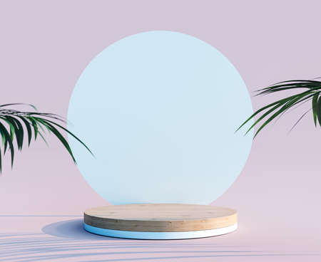 Empty wooden circle podium with white background and plant decoration 3D Rendering