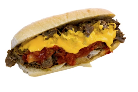 melted cheese: Cheese Steak with Sauce Stock Photo