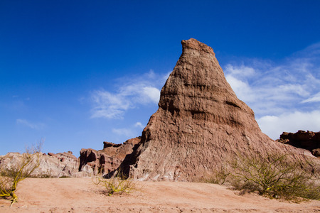 Different geological shapes formed by the erosion of wind and water from prehistoric eras
