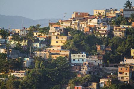 developed: favela developed on the slope of a hill in Brazil