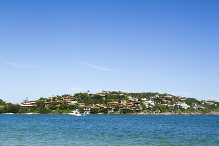 caribe: Atlantic coast of Brazil where we see the beach, houses and boats or boats.