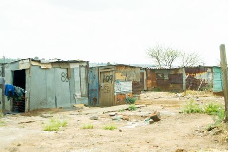 Veneer and wood houses in the humblest or poorest neighborhood in SOWETO in Johannesburg