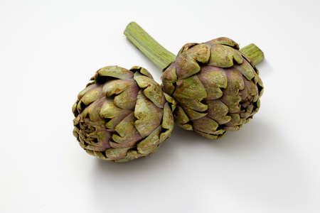 Two organic and fresh artichokes with a piece of stem on a white surface.