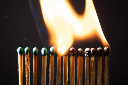Line of matches without distance where they are lit one by one spreading the fire. The COVID-19 virus spreads the same if there is not enough distance between people