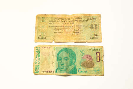 1 australes and 1 bono of tucuman province old bill of Argentina, pink picture and pattern. Currency during the years 1986 to 1991