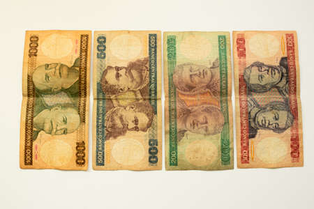 Different Old Brazilian Cruzeiros banknotes out of circulation.