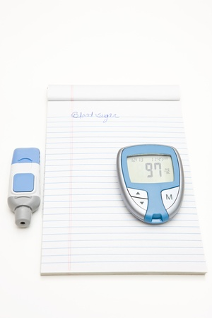 log book: Diabetes Log and Glucose Monitor Stock Photo