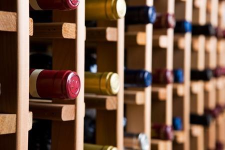 wine cellar: Wine Bottles In Cellar Stock Photo