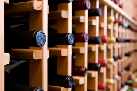 Bottles Stacked In Wine Rack photo