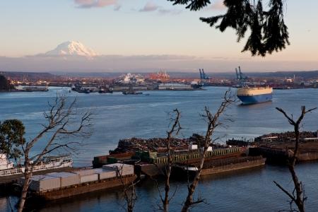Port of Tacoma with Mount Rainier Stock Photo - 17307068