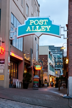 pike place market sign: Post Alley in Seattle Editorial