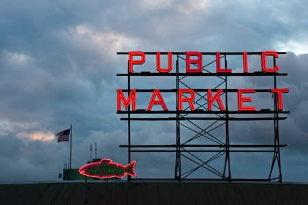 public market: Public Market Sign at Pike Place Stock Photo