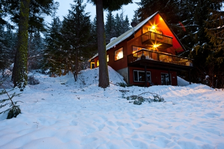 Cabin In Woods At Dusk photo