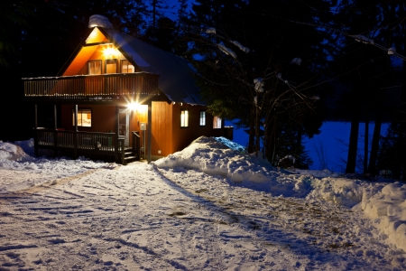 cabins: Cabin In Woods At Dusk