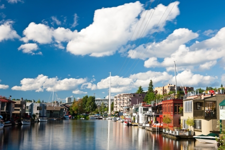 lake district: Houseboats on Lake Union in Seattle