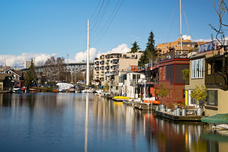 nautical structure: Seattle Houseboats On Lake Union late in the afternoon