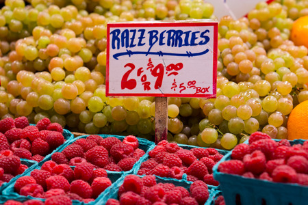 Raspberries and Grapes at Farmers Market photo