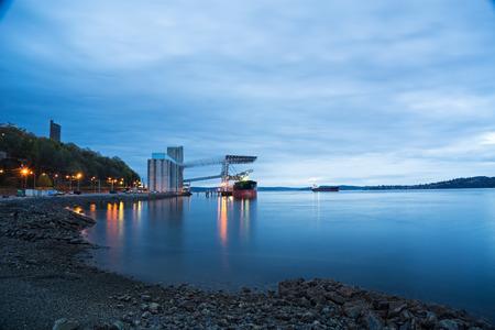 tacoma: Ship Being Loaded At Grain Terminal In Tacoma Washington